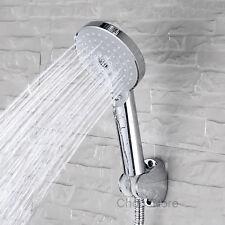 Chrome Multi-Function Bathroom Hand Held Rain Shower Head Set Bracket+Hose+Spray
