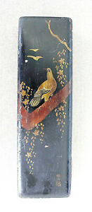 Japan Antique Lacquer Wooden Box with hand painted Bird on branch, Signed