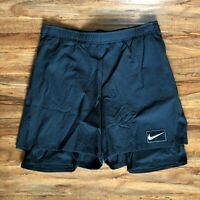 Nike Court Ace 2 in 1 Tennis Shorts Black AV4906-010 Men's Size Large and XL