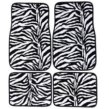 4PC 4 Pcs Universal Size Vehicle Car Truck Mat Carpet Floor Mats Zebra Pattern