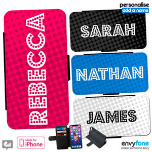 YOUR NAME Personalised DOTS Leather Flip Wallet Phone Case for iPhone Cover Gift