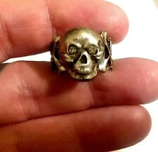 Antique Silver Mourning Jewelry Momento Mori Skull Bones Ring Paste Stone Eyes