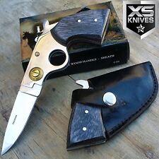 "7"" COWBOY PISTOL Black Wooden Handle Folding GUN KNIFE w/ LEATHER HOLSTER"