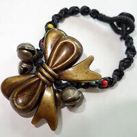 Bow Jingle Bells Wristband Friendship Charm Bracelet Bangle Womens Girls Ladies