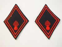 WWII French Army Collar Insignia Red Black Patch Pair