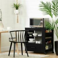 Vietti Microwave Cart on Wheels -Black Oak-South Shore