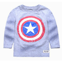 Kids Boys Captain America T-Shirts Tops Long Sleeves Jumper Sweatshirt Pullover