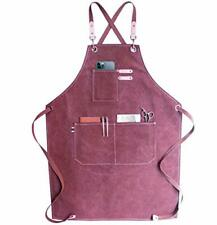 Chef Apron, Waterdrop Resistant Cotton Canvas Cross Back Adjustable Indi Pink