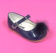 Mary Jane dress Shoes Spanish style Pom Poms navy Size 2 3 4 5 6 7 8