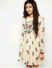 ASOS women DRESS size 12 (US 8) Ivory Embroidery Long Sleeve New