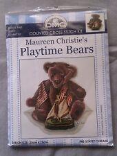 Playtime Bears Dusty & Boat a Maureen Christie cross stitch 25 x 25cm 16ct Aida