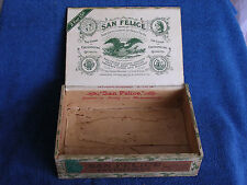 """Antique """"San Felice"""" Brand Wooden Cigar Box with American Eagle Labels/Lima Ohio"""