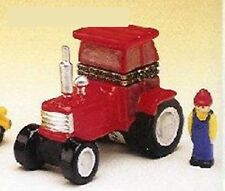 RED TRACTOR-Porcelain Hinged-Box-with FARMER IN BIB OVERALL TRINKET