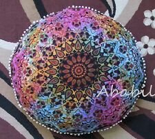 "32"" Indian Round Multi Star Mandala Pillow Meditation Cushion Pouf Ottoman Cover"