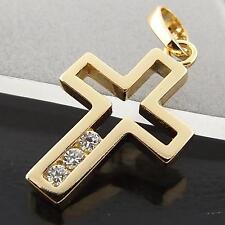 FSA039 GENUINE 18CT YELLOW G/F GOLD DIAMOND SIMULATED CRUSIFIX CROSS PENDANT