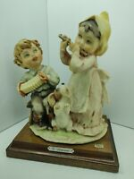 G.Armani Capodimonte Florence Statuette Porcelain Boy and Girl playing music