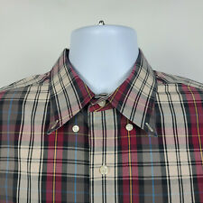 Jos A Bank Traveler Brown Red Black Plaid Check Mens Dress Button Shirt Large L