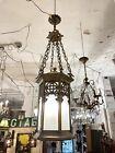 Antique Brass Neo Gothic Three Light Ceiling Pendant Light Celtic Knot Pattern