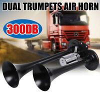 12V 300db Car Boat Truck Lorry Super Loud 2 Trumpet Air Horn Compressor Silver