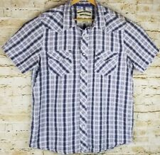 Mens XL Short Sleeve Purple Plaid Western Rodeo Cowboy Shirt Pearl Snaps Pockets