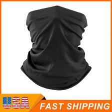 Black Multi-use Tube Scarf Bandana Head Face Mask Neck Gaiter Head Wear USA