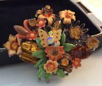Vintage Jewellery Stunning Large Three Dimension Enamel & Crystal Flowers Brooch