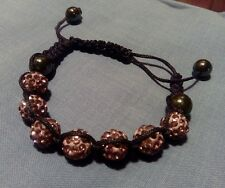 Shamballa styled purple lavender fashionable crystal bracelet with string ties