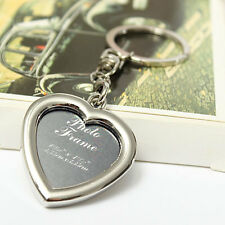 Creative Insert Picture Photo Frame Polished Heart Keyring Keychain Novelty Gift
