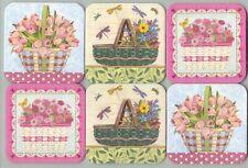 Longaberger 2 Hope w Flowers 2 Easter Basket w Tulips 2 Green w Flowers Coasters
