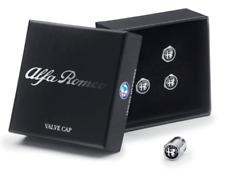Alfa Romeo Set of 4 Tyre Valve Caps Black with Logo New Genuine 50547690