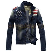 Vintage American Flag Jeans Coat Slim Men's Motorcycle  Denim Jacket
