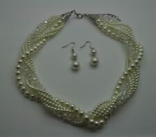 Exquisite white Pearl Necklace & clear ab Multi Layer Set  Fashion Jewelry