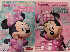 Disney Minnie Learning Workbook Numbers & Counting Shapes & Sizes Lot Of 2