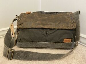 NWT Bedstu Canvas Hawkeye Crossbody Messenger Travel Bag Black Brown