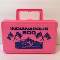 Vtg Indianapolis 500 Pink Plastic Pencil Lunch Box Whirley Industries USA