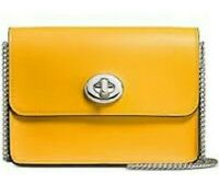 NWT Coach Bowery Smooth YELLOW Calf Leather Turnlock Crossbody Bag 57714 - $250