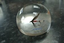 Vintage Fly Fishing Paperweight with Peter Ross Blue Charm & Dunkeld Flys