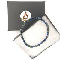Elegant Genuine Gemstone Chrysocolla Lapis Lazuli 4mm Bracelet Elastic Christmas