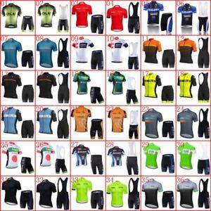 Breathable Mens Cycling Jersey Suit Short Sleeve Team Bike Shirts Bib Shorts Set