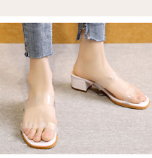 Women Med Block Heel Belted Casual Summer Transparent Fairy Wild Ballet Slippers