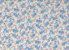 White / Blue  Floral Polycotton Fabric