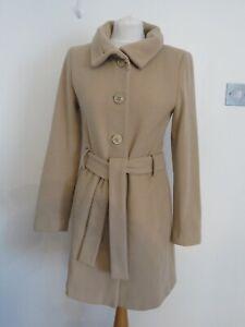 Zara Camel Coat UK Small Wool Blend Beige Belt Single Button Longline Pockets
