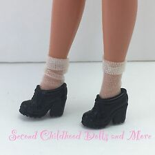 BARBIE DOLL FOOTWEAR Black High Heeled Lace Up Loafers w Sheer Crew Cut Socks