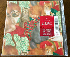 Vintage Hallmark Gift Wrap Christmas Cats Kittens Wrapping Paper