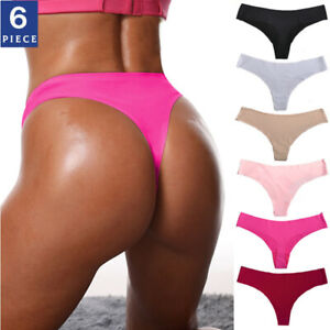 6 Pack Womens Sexy Seamless Panties Briefs Underwear Low Waist Thongs G-string
