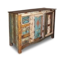 mueble aparador o vitrina consola vintage industrial de madera reciclada maciza