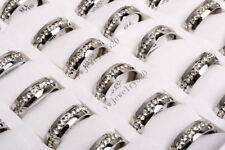Wholesale Lots 10ps Jewelry Silver CZ Rhinestone 316L Stainless Steel Rings FREE