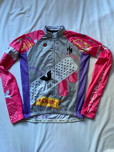 New Pactimo Long Sleeve Cycling Jersey Pink/Gray Full Zip Size L