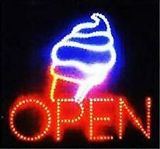 Large Open Ice Cream Cone Yogurt Signs Led Neon Business Motion Light Sign.