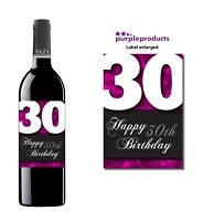 Pink Happy 30th Birthday Glossy Wine & Champagne Bottle Gift Present Label